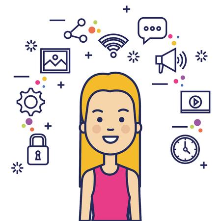 avatar woman with social media marketing vector illustration design