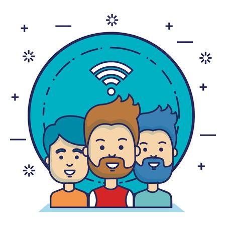Gruppo di persone con progettazione dell & # 39 ; illustrazione di vettore di icone di marketing di social media Archivio Fotografico - 103014634