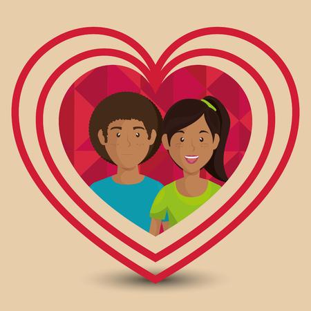 Pareja de amantes en traje de los niños ilustración vectorial de diseño Foto de archivo - 103014639
