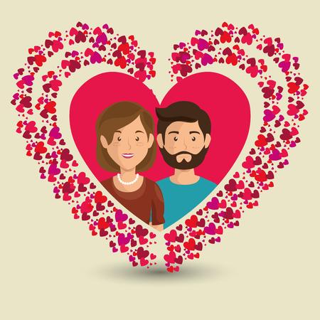 Pareja de amantes en traje de los niños ilustración vectorial de diseño Foto de archivo - 103014641