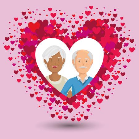 Pareja de abuelos en traje de los niños ilustración vectorial de diseño de los personajes Foto de archivo - 103014643