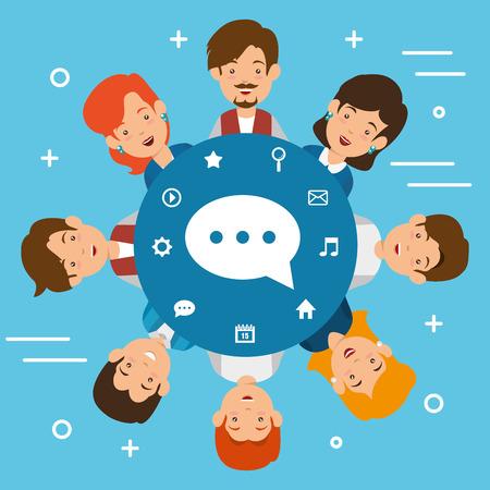 Gruppo di persone con progettazione dell & # 39 ; illustrazione di vettore di icone di marketing di social media Archivio Fotografico - 103014646