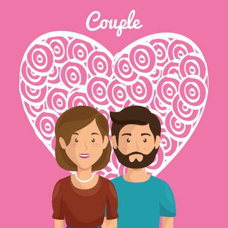 heart with lovers couple avatars characters vector illustration design