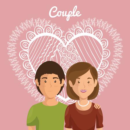 Corazón con amantes de los pares ilustración vectorial personajes de diseño Foto de archivo - 103014547