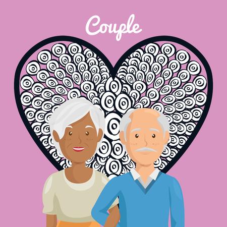 Corazón con los abuelos pareja de personajes de diseño de ilustración vectorial Foto de archivo - 103014548
