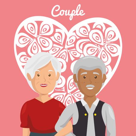 Corazón con los abuelos pareja de personajes de diseño de ilustración vectorial Foto de archivo - 103014178