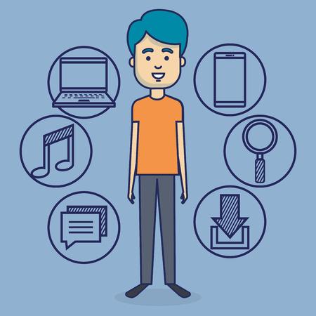 Avatar Mann mit Social Media Vektor-Illustration Design Standard-Bild - 103014555