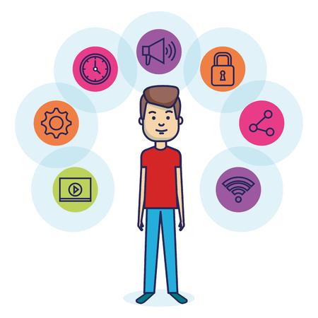 avatar man with social media marketing vector illustration design Ilustrace