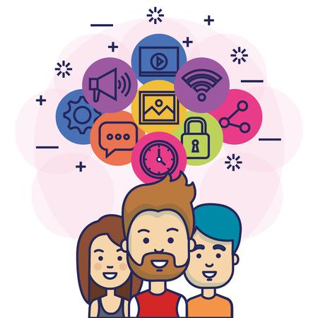 Gruppo di persone con progettazione dell & # 39 ; illustrazione di vettore di icone di marketing di social media Archivio Fotografico - 103014463