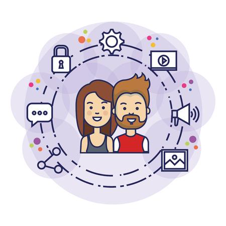 couple avatars with social media marketing vector illustration design
