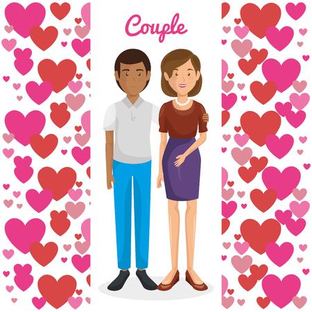 Amantes de la pareja con los corazones del modelo del diseño de ilustración vectorial Foto de archivo - 103014344