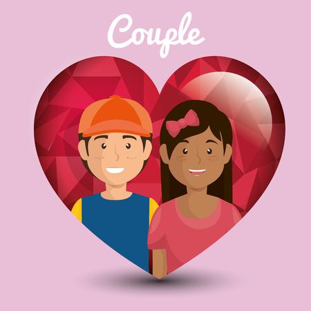 Pareja de amantes en traje de los niños ilustración vectorial de diseño Foto de archivo - 103014348