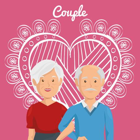 Corazón con los abuelos pareja de personajes de diseño de ilustración vectorial Foto de archivo - 103014350