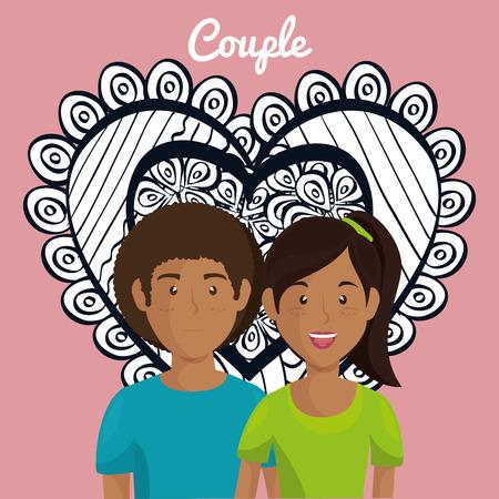 Corazón con amantes de los pares ilustración vectorial personajes de diseño Foto de archivo - 103014351