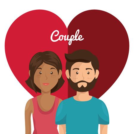 Corazón con amantes de los pares ilustración vectorial personajes de diseño Foto de archivo - 103014355