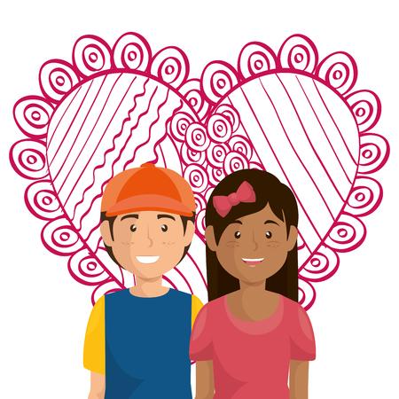 Corazón con amantes de los pares ilustración vectorial personajes de diseño Foto de archivo - 103014356