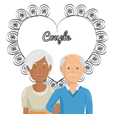 Corazón con los abuelos pareja de personajes de diseño de ilustración vectorial Foto de archivo - 103014238