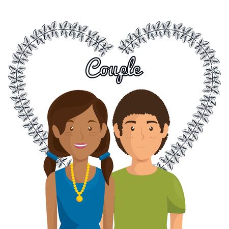 Corazón con amantes de los pares ilustración vectorial personajes de diseño Foto de archivo - 103014115