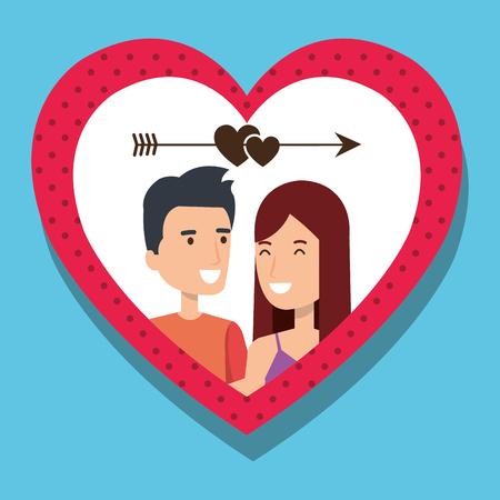 Amantes de la pareja con el corazón y la flecha ilustración vectorial de diseño Foto de archivo - 103014250