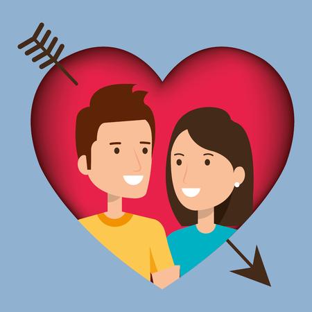 Amantes de la pareja con el corazón y la flecha ilustración vectorial de diseño Foto de archivo - 103014251