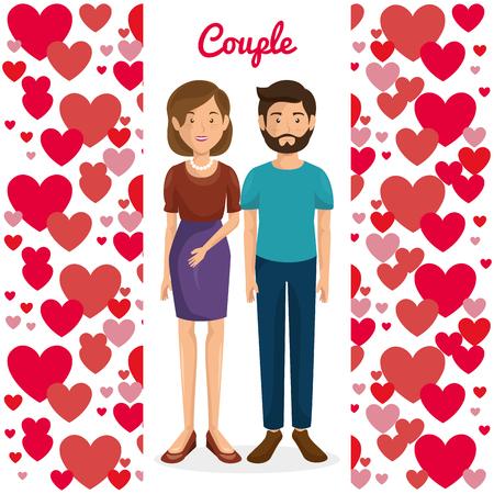 Amantes de la pareja con los corazones del modelo del diseño de ilustración vectorial Foto de archivo - 103014254