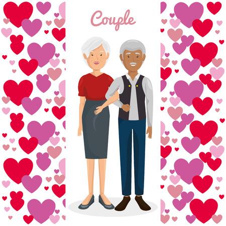 Pareja de abuelos con corazones de diseño de ilustración vectorial Foto de archivo - 103014255