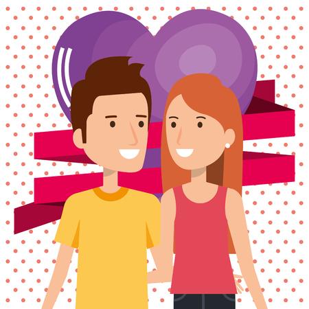 Amantes de la pareja con los corazones del modelo del diseño de ilustración vectorial Foto de archivo - 103014141
