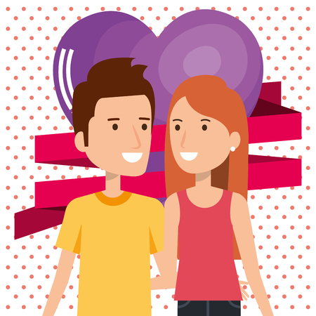 lovers couple with hearts pattern vector illustration design Çizim