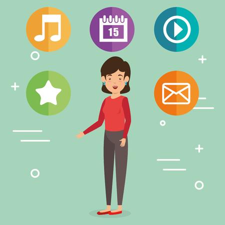 Donna avatar con progettazione di illustrazione vettoriale di marketing di social media Archivio Fotografico - 103014149