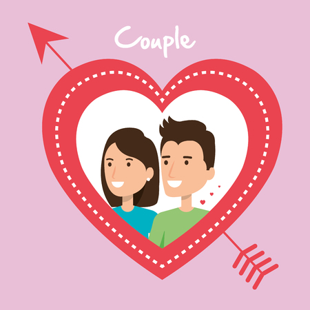 lovers couple with heart and arrow vector illustration design Foto de archivo - 103156569