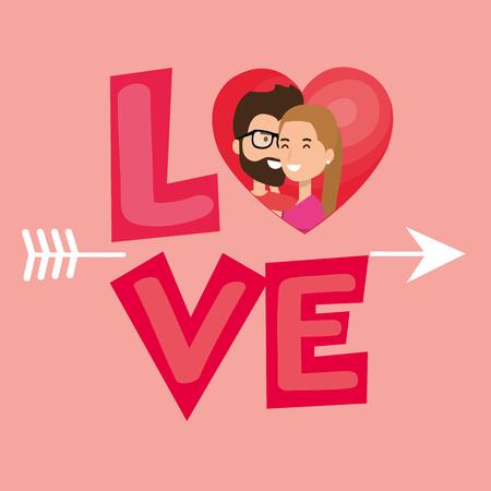 Amantes de la pareja con el corazón y la flecha ilustración vectorial de diseño Foto de archivo - 103014150
