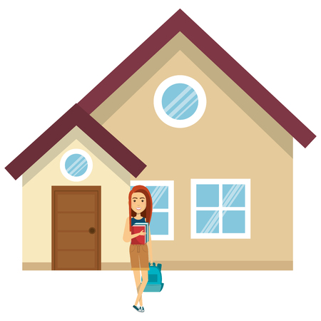 student young woman outside the house vector illustration design