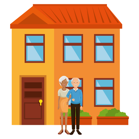 grandparents couple outside the house vector illustration design