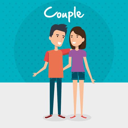 Pareja de amantes amigos de carácter ilustración vectorial de diseño Foto de archivo - 103015623