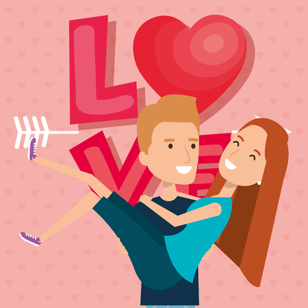 lovers couple with heart and arrow vector illustration design