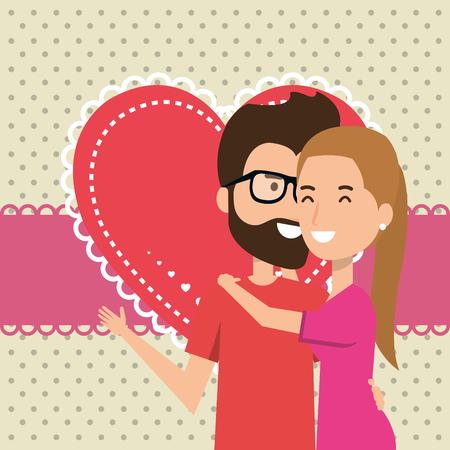 Amantes de la pareja con los corazones del modelo del diseño de ilustración vectorial Foto de archivo - 103015630