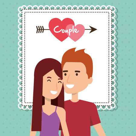 Amantes de la pareja con el corazón y la flecha ilustración vectorial de diseño Foto de archivo - 103015632