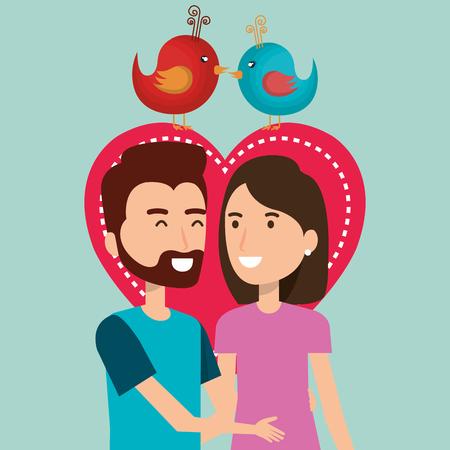 Corazón con amantes de los pares ilustración vectorial personajes de diseño Foto de archivo - 103015631