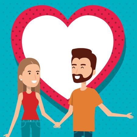 Amantes de la pareja con los corazones del modelo del diseño de ilustración vectorial Foto de archivo - 103019550