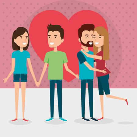Grupo de parejas de amantes con diseño de ilustración de vector de corazón Foto de archivo - 103019555