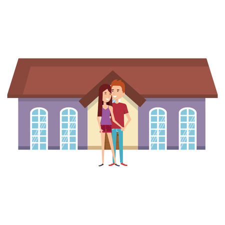 couple lovers outside the house vector illustration design Stock Vector - 103019230
