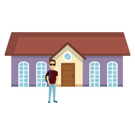 student young man outside the house vector illustration design Ilustração