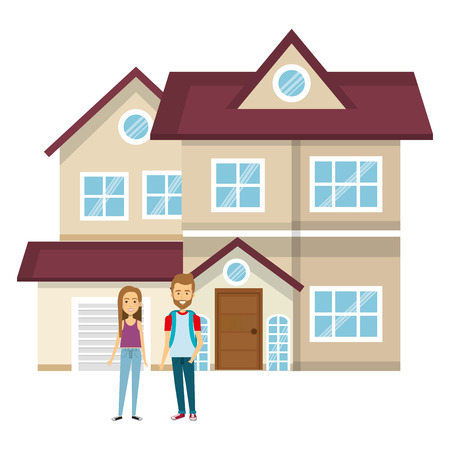 couple lovers outside the house vector illustration design Stock Vector - 103019258