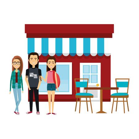 group of friends outside the restaurant vector illustration design Illusztráció