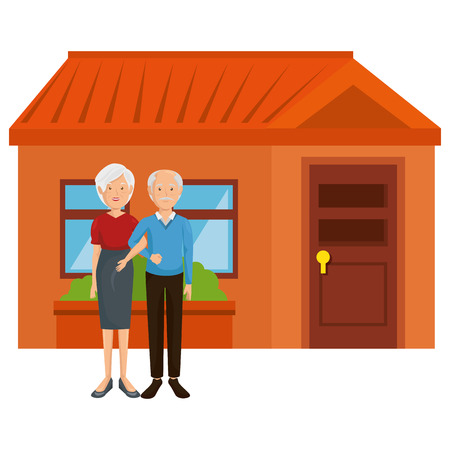 grandparents couple outside the house vector illustration design Stock Vector - 103019164