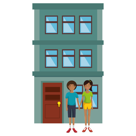 couple lovers outside the house vector illustration design Illustration