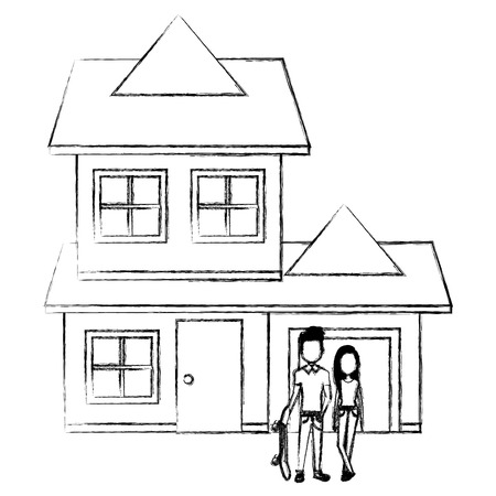 couple lovers outside the house vector illustration design Stock Vector - 103015635
