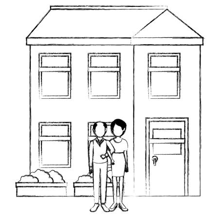grandparents couple outside the house vector illustration design