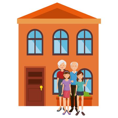 family group outside the house vector illustration design Ilustrace
