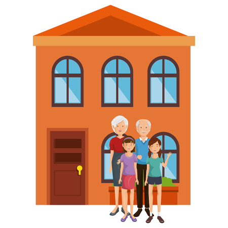 family group outside the house vector illustration design Illustration